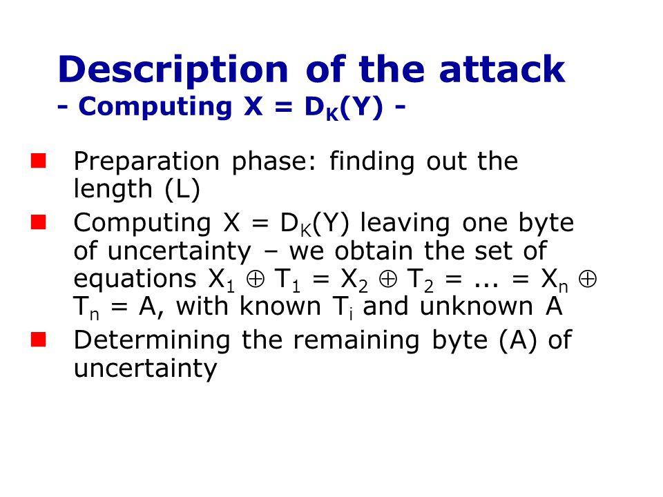 Description of the attack - Computing X = DK(Y) -