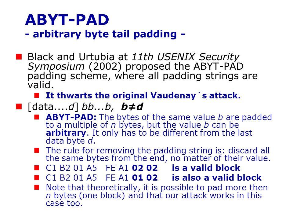 ABYT-PAD - arbitrary byte tail padding -