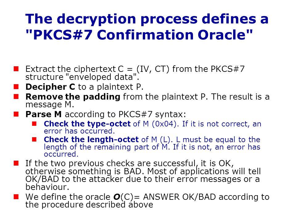 The decryption process defines a PKCS#7 Confirmation Oracle
