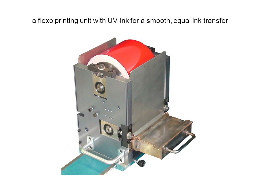a flexo printing unit with UV-ink for a smooth, equal ink transfer