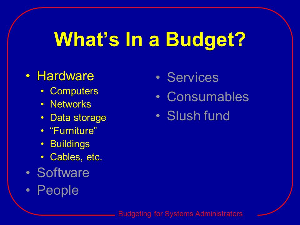 What's In a Budget Hardware Software People Services Consumables