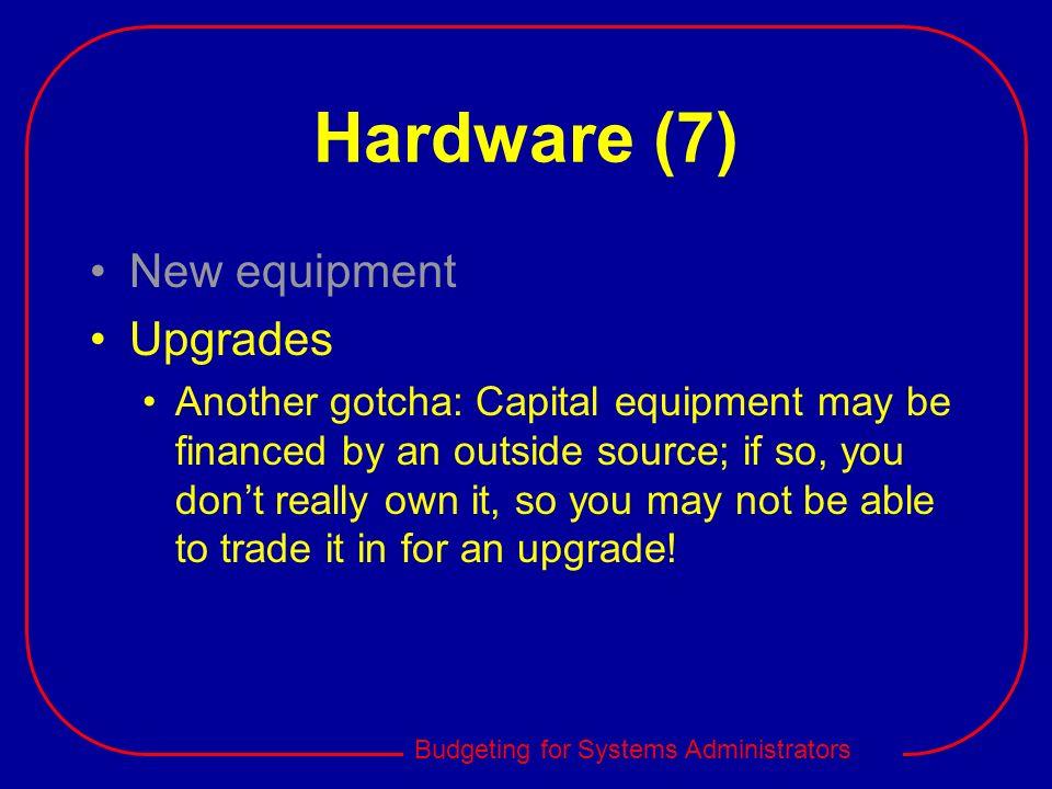 Hardware (7) New equipment Upgrades