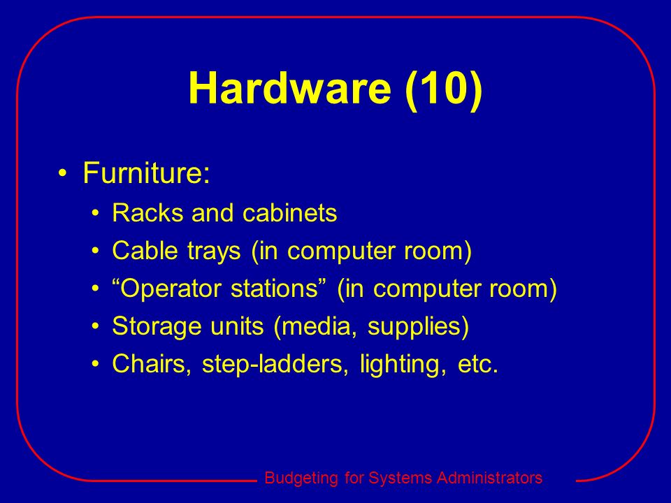 Hardware (10) Furniture: Racks and cabinets