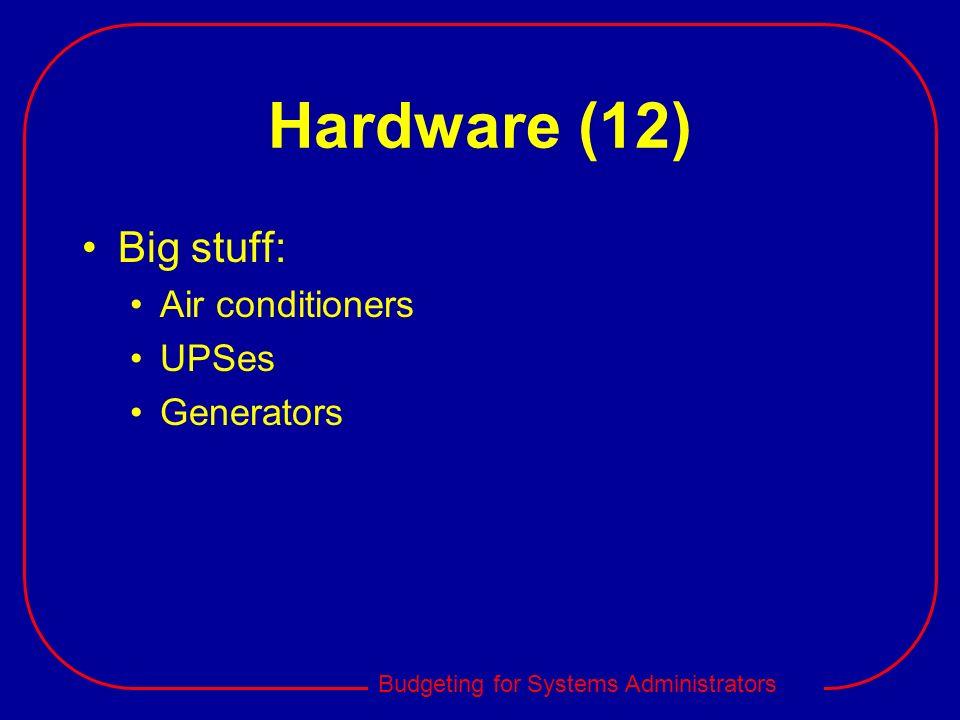 Hardware (12) Big stuff: Air conditioners UPSes Generators