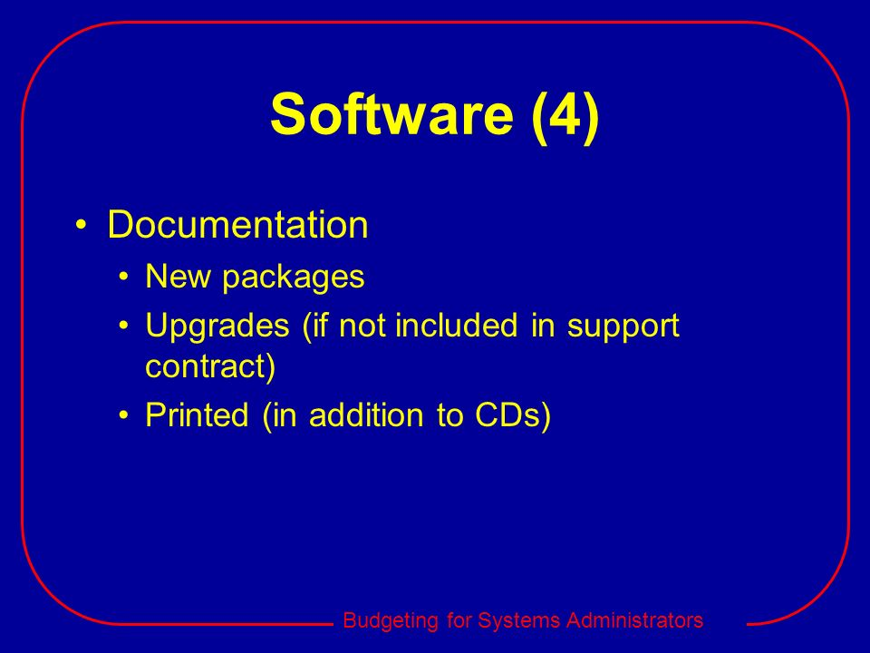 Software (4) Documentation New packages