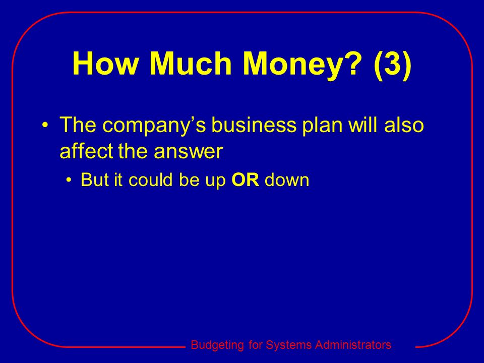 How Much Money. (3) The company's business plan will also affect the answer.
