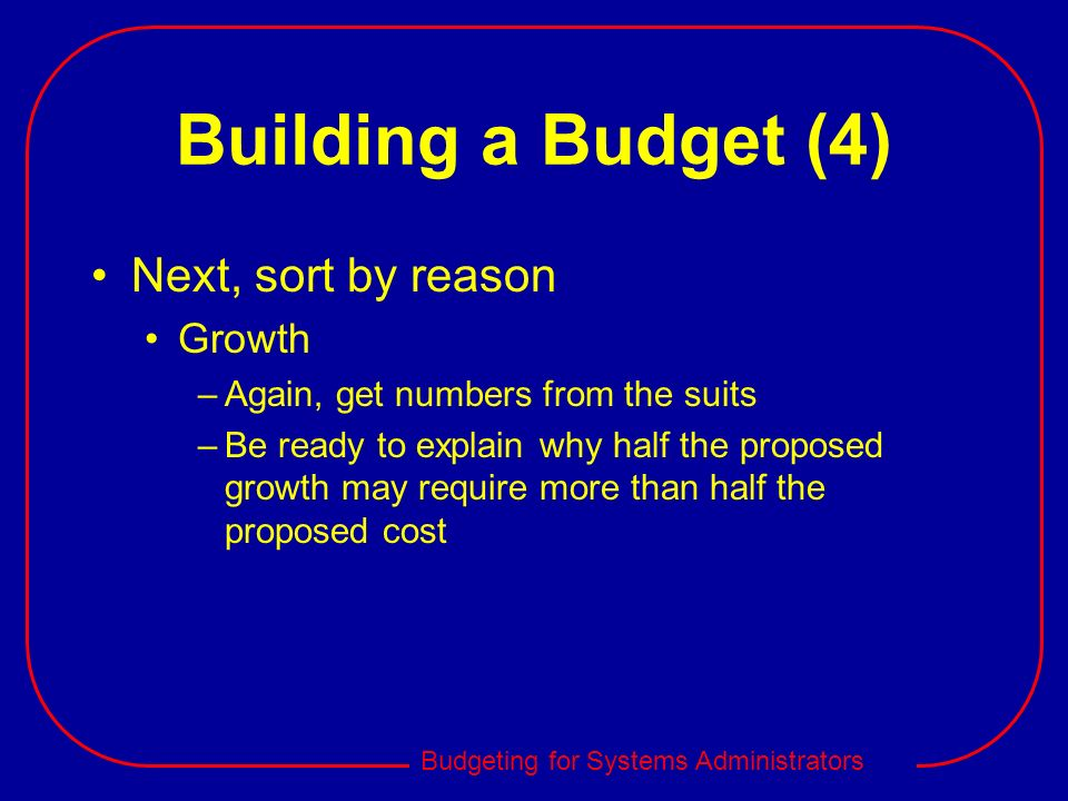 Building a Budget (4) Next, sort by reason Growth