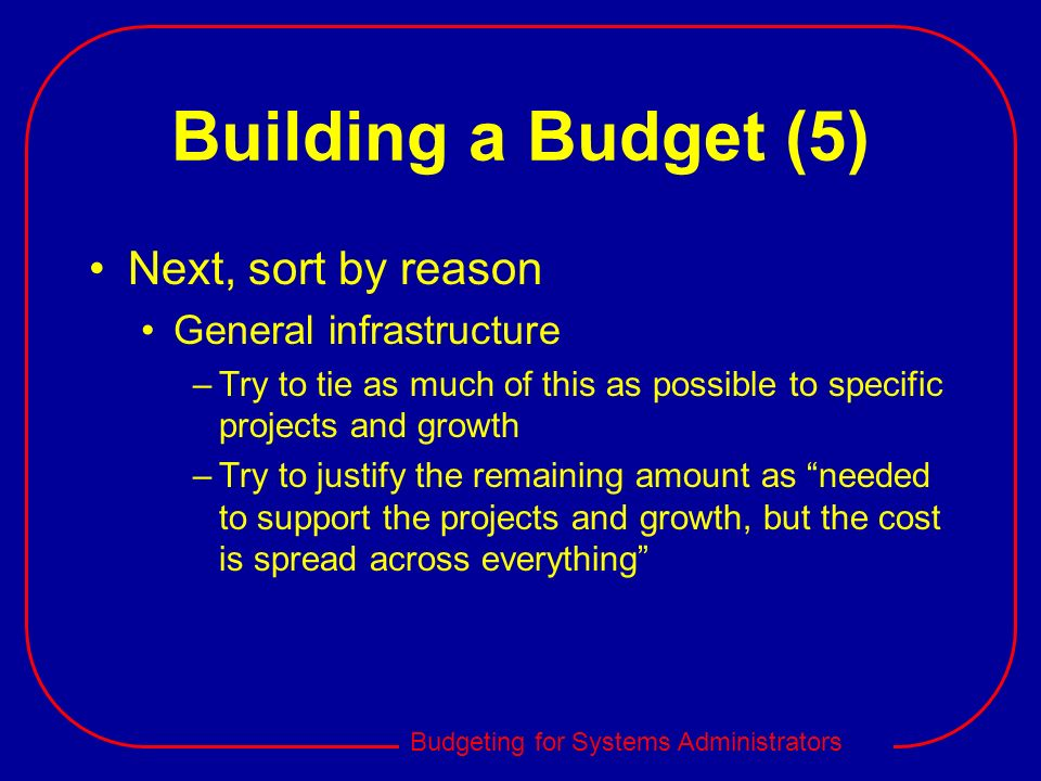 Building a Budget (5) Next, sort by reason General infrastructure