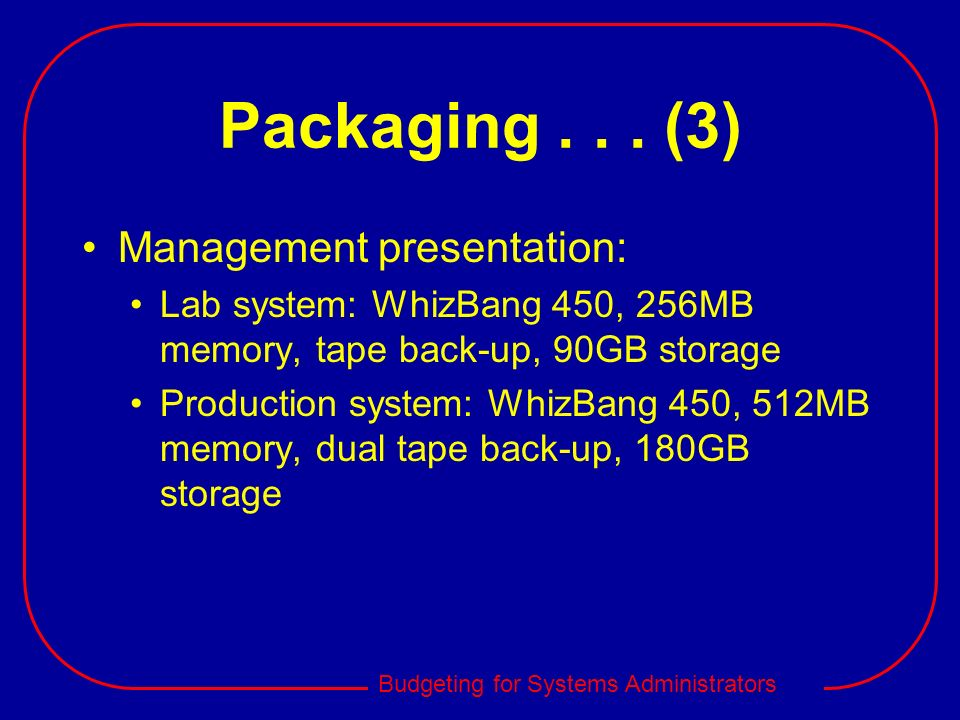 Packaging (3) Management presentation: