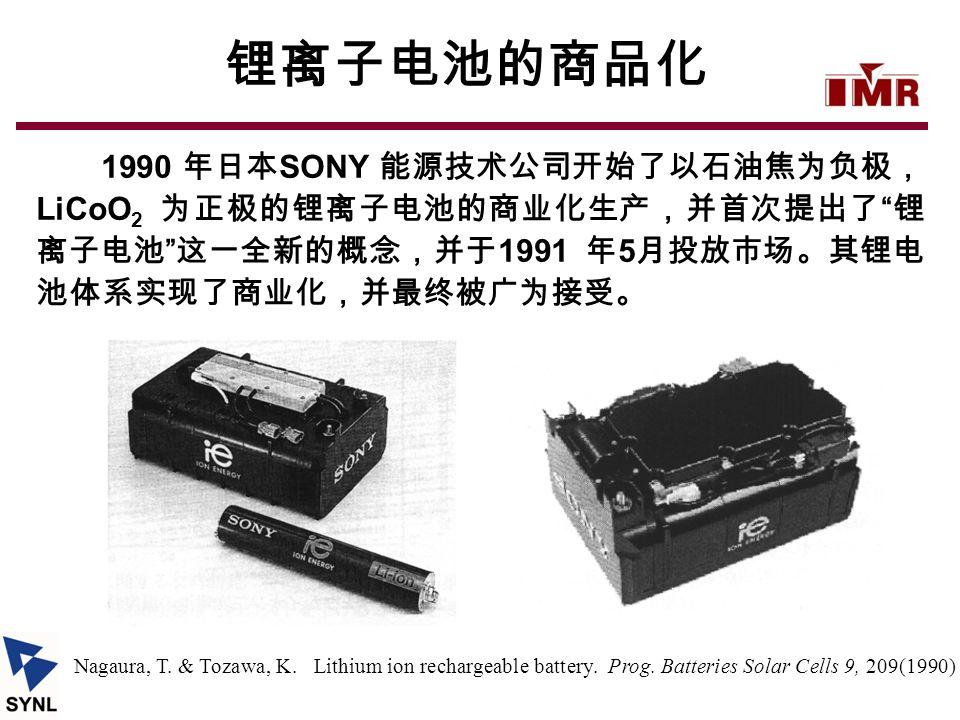 锂离子电池的商品化 1990 年日本SONY 能源技术公司开始了以石油焦为负极,LiCoO2 为正极的锂离子电池的商业化生产,并首次提出了 锂离子电池 这一全新的概念,并于1991 年5月投放市场。其锂电池体系实现了商业化,并最终被广为接受。