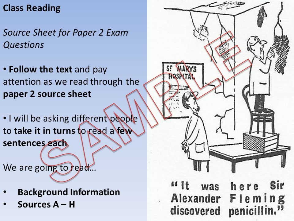 SAMPLE Class Reading Source Sheet for Paper 2 Exam Questions