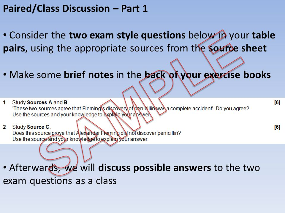 SAMPLE Paired/Class Discussion – Part 1