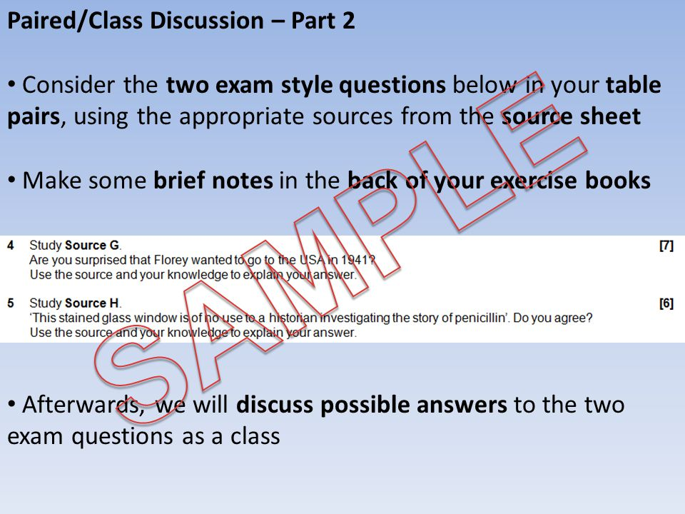 SAMPLE Paired/Class Discussion – Part 2