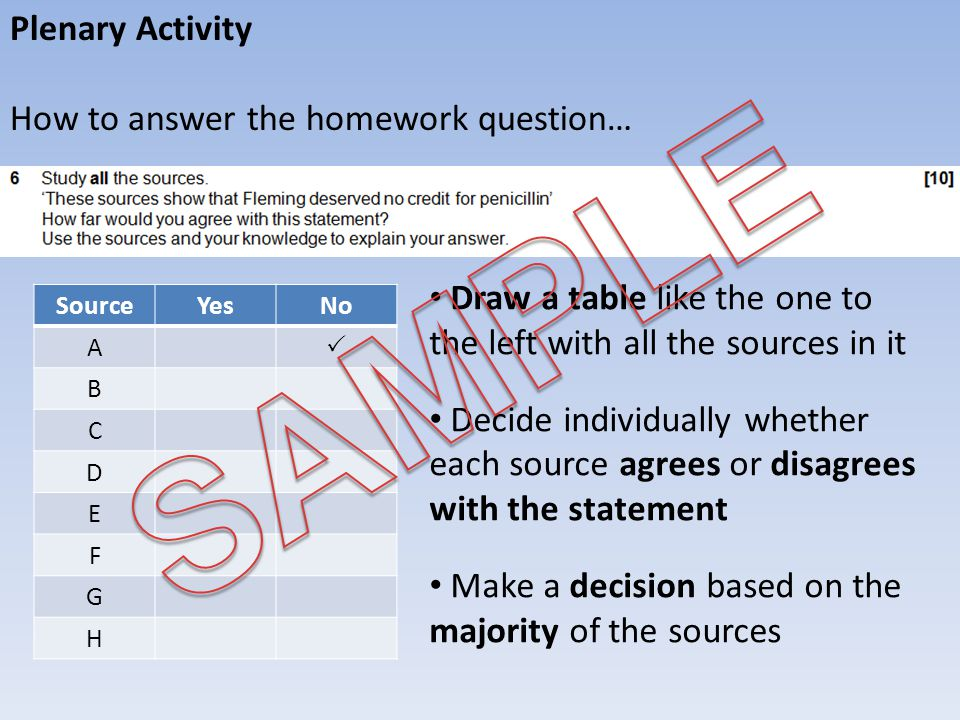 SAMPLE Plenary Activity How to answer the homework question…