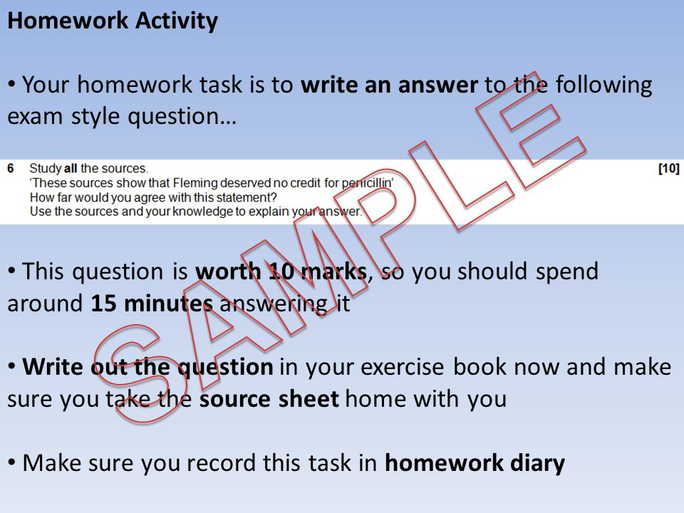 SAMPLE Homework Activity
