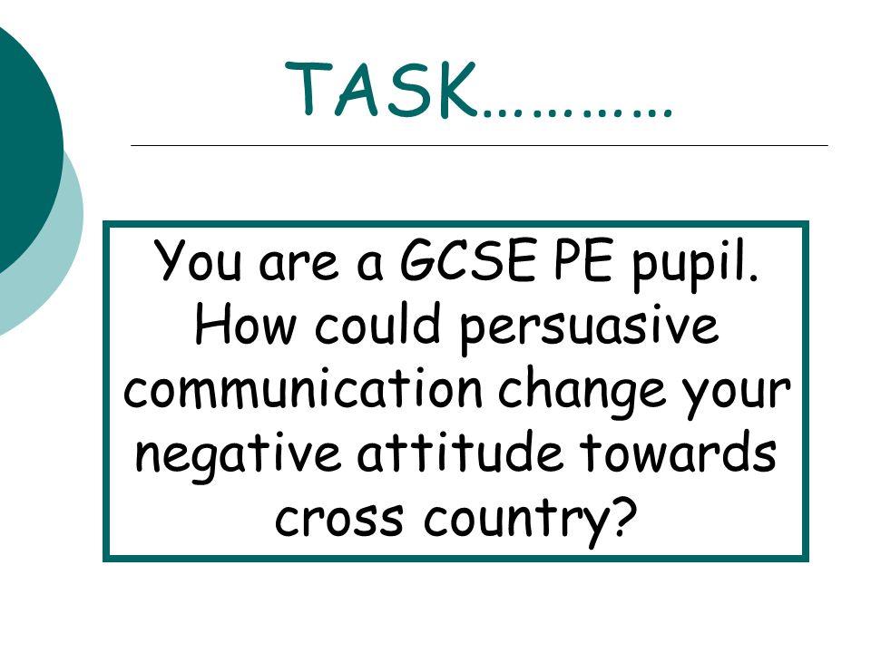TASK………… You are a GCSE PE pupil.