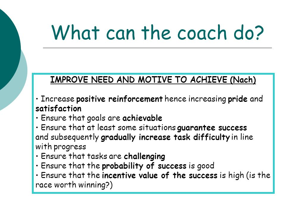 IMPROVE NEED AND MOTIVE TO ACHIEVE (Nach)
