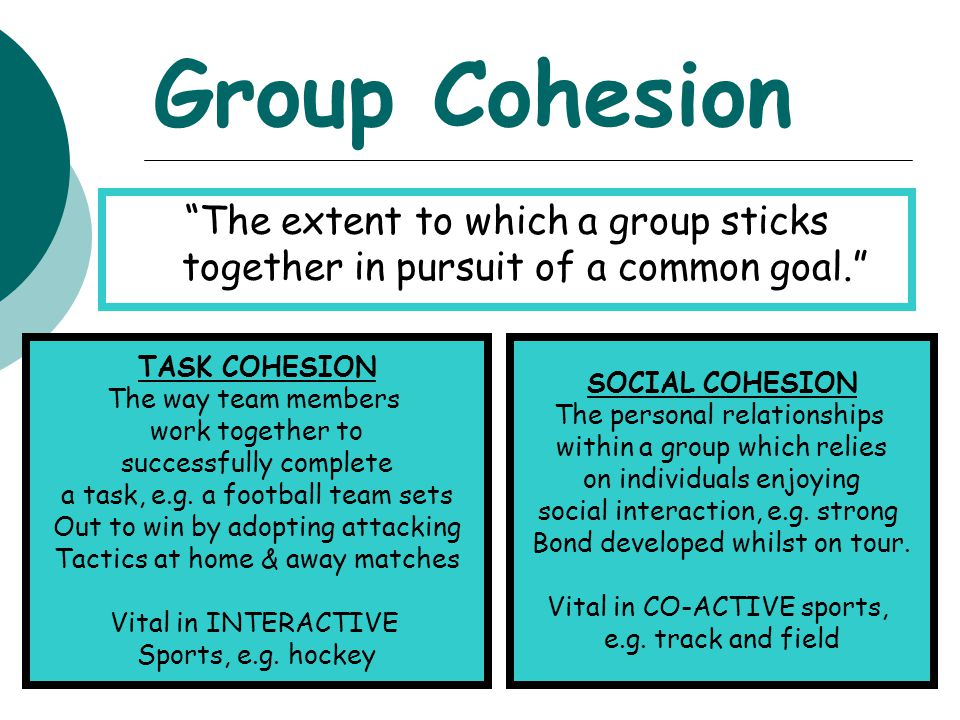 Group Cohesion The extent to which a group sticks together in pursuit of a common goal. TASK COHESION.