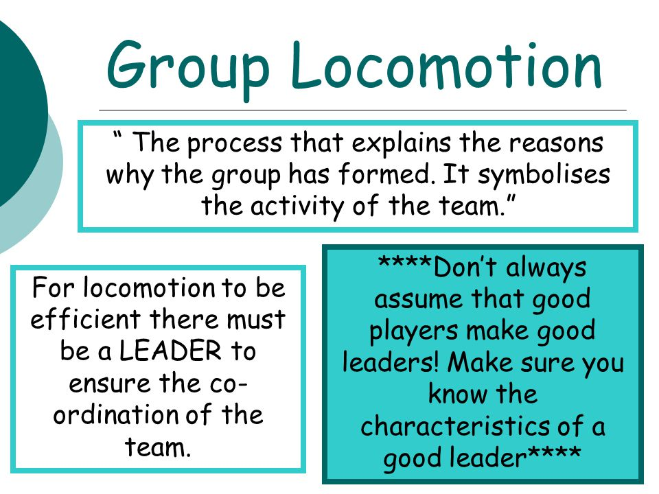Group Locomotion The process that explains the reasons why the group has formed. It symbolises the activity of the team.