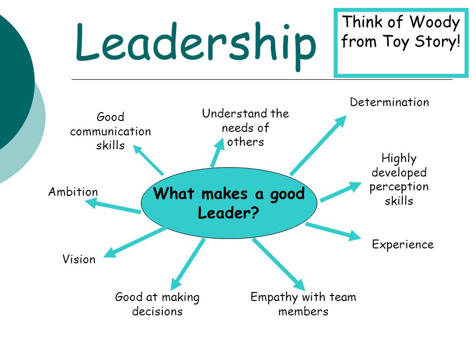 Leadership Think of Woody from Toy Story! What makes a good Leader