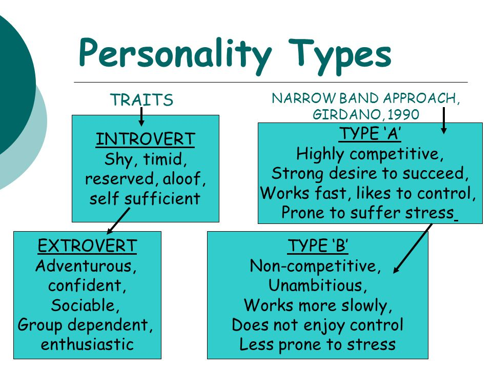 Personality Types TRAITS INTROVERT Shy, timid, reserved, aloof,