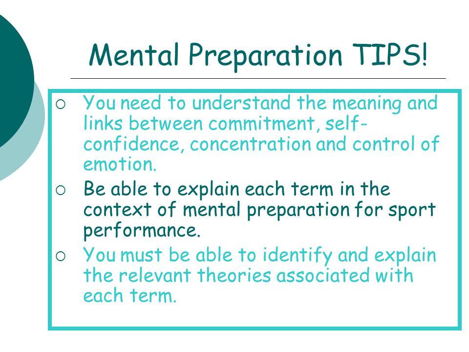 Mental Preparation TIPS!
