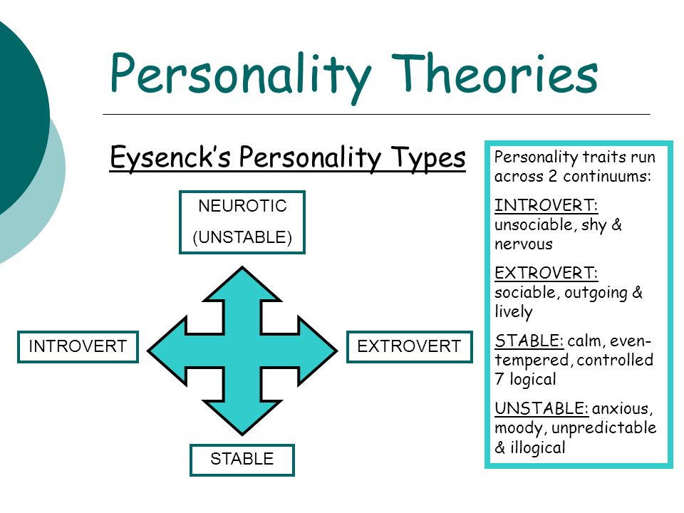 Personality Theories Eysenck's Personality Types NEUROTIC (UNSTABLE)