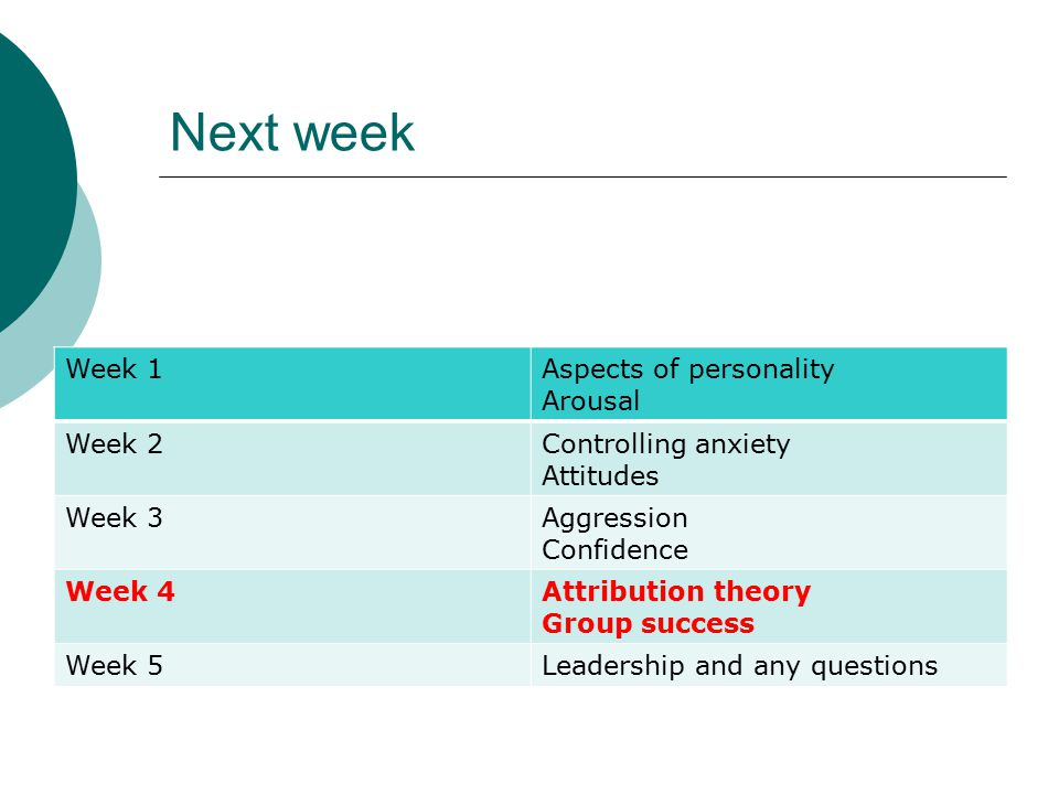 Next week Week 1 Aspects of personality Arousal Week 2