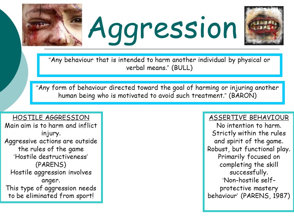 Aggression Any behaviour that is intended to harm another individual by physical or verbal means. (BULL)