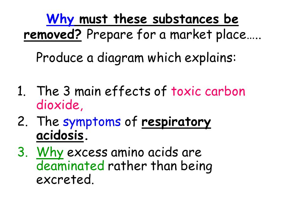 Why must these substances be removed Prepare for a market place…..