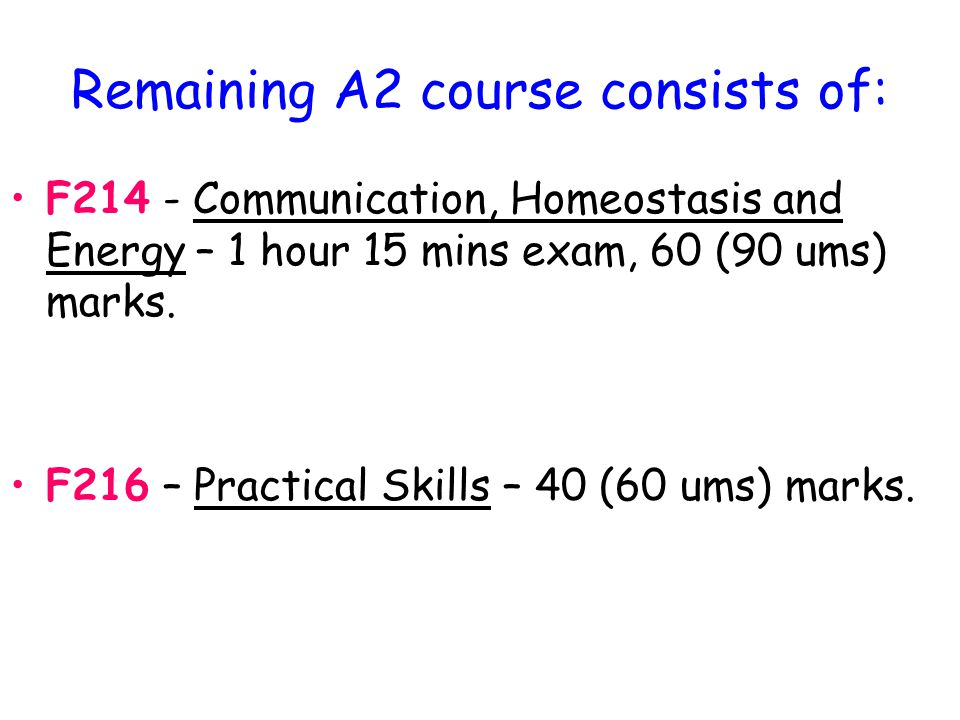 Remaining A2 course consists of: