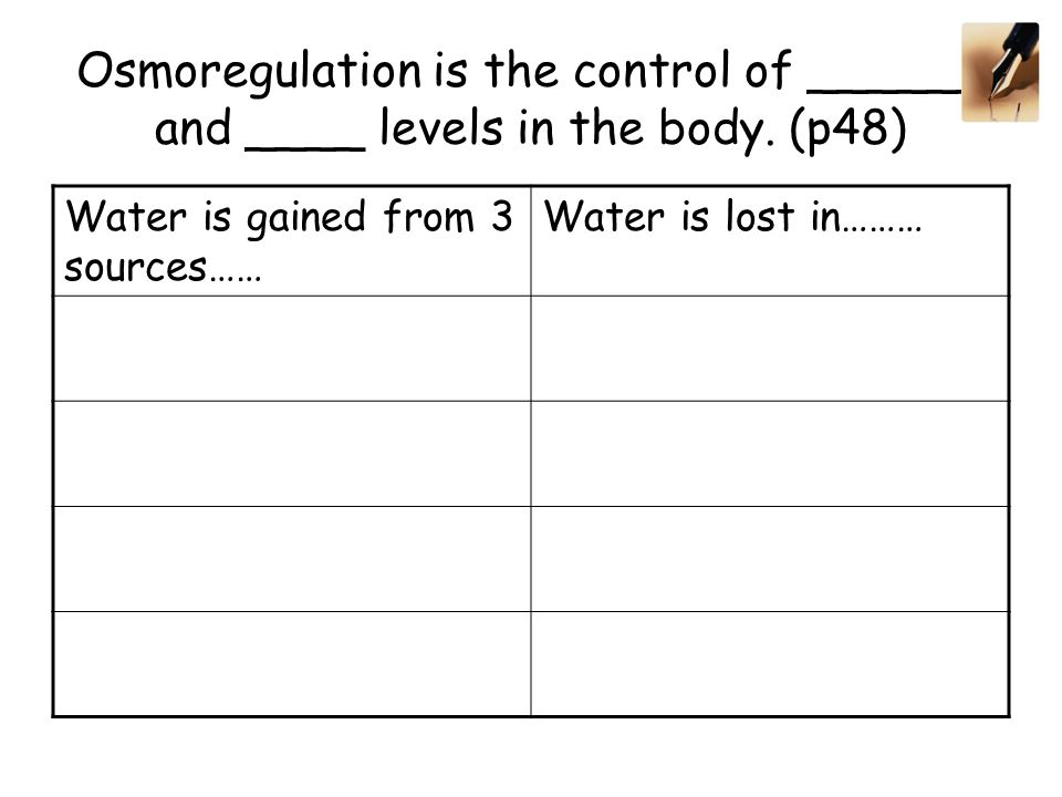 Osmoregulation is the control of ______ and ____ levels in the body