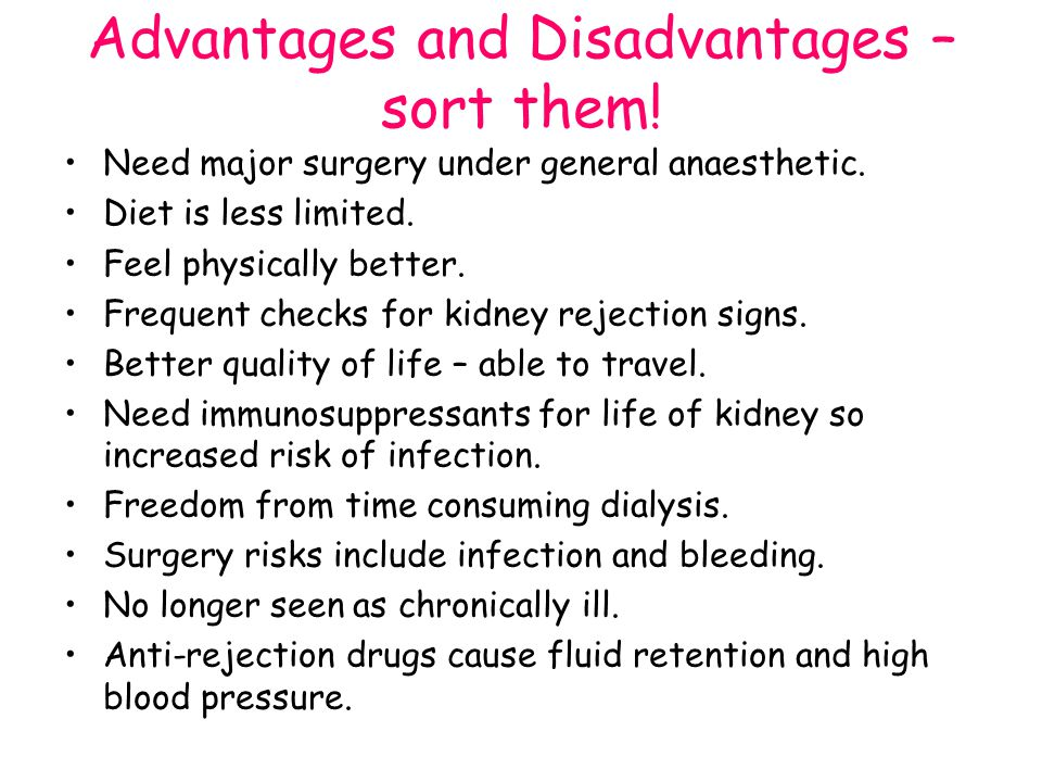 Advantages and Disadvantages – sort them!