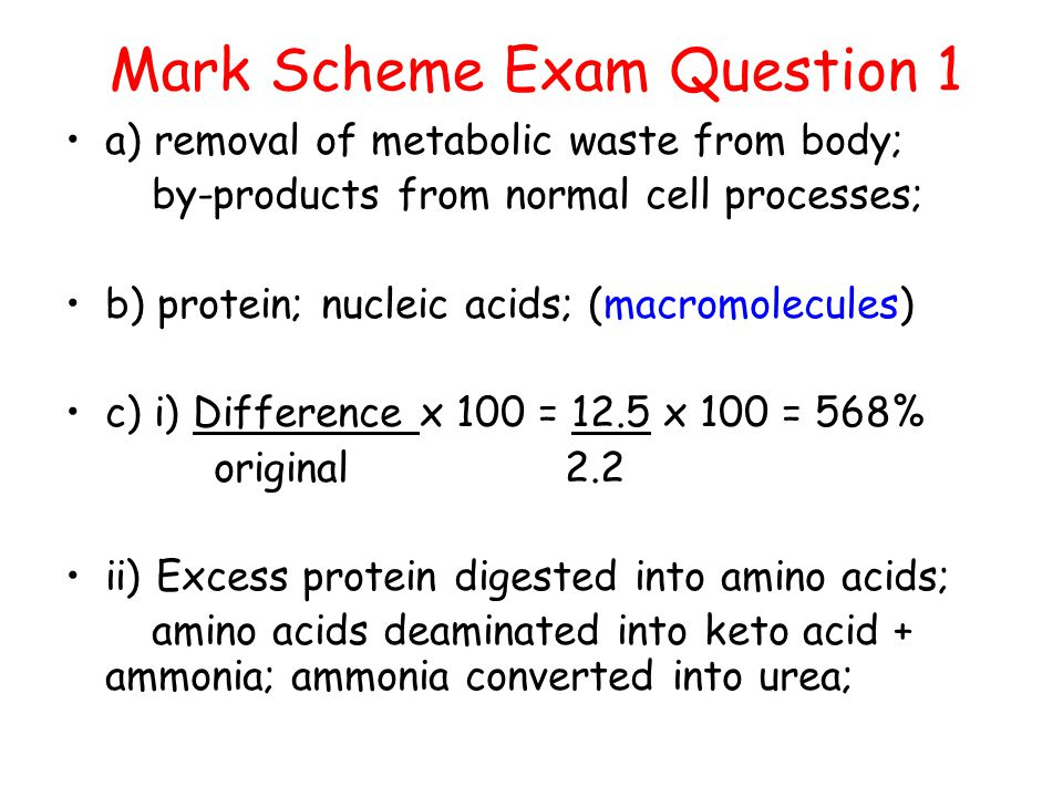 Mark Scheme Exam Question 1