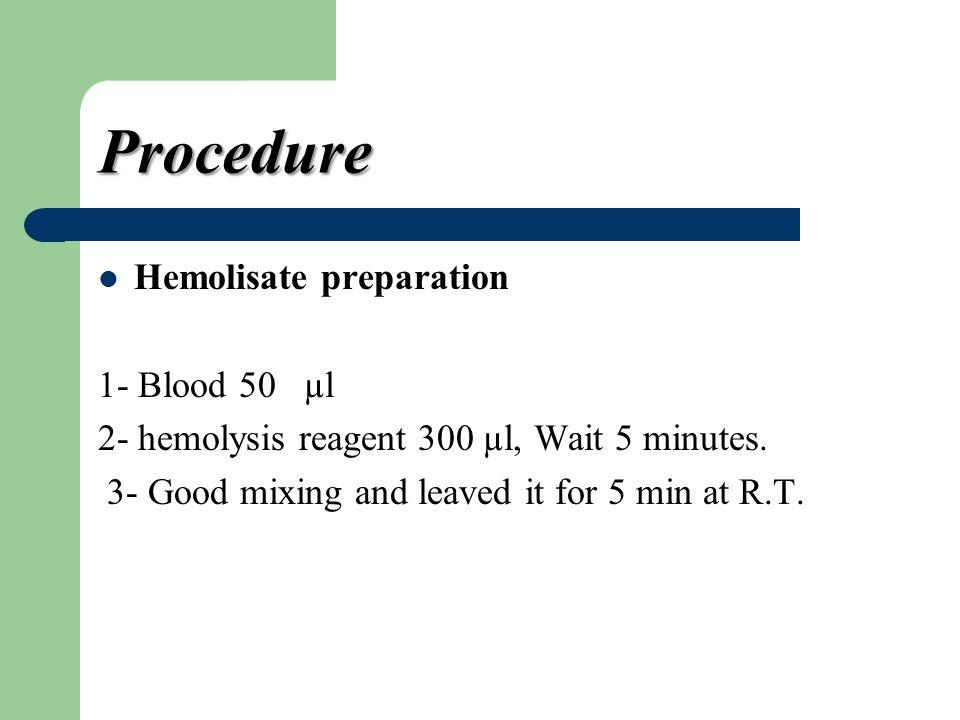 Procedure Hemolisate preparation 1- Blood 50 µl