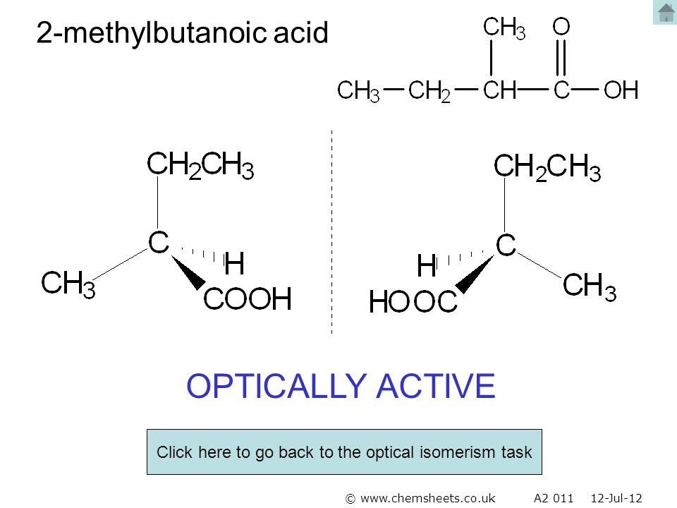 Click here to go back to the optical isomerism task
