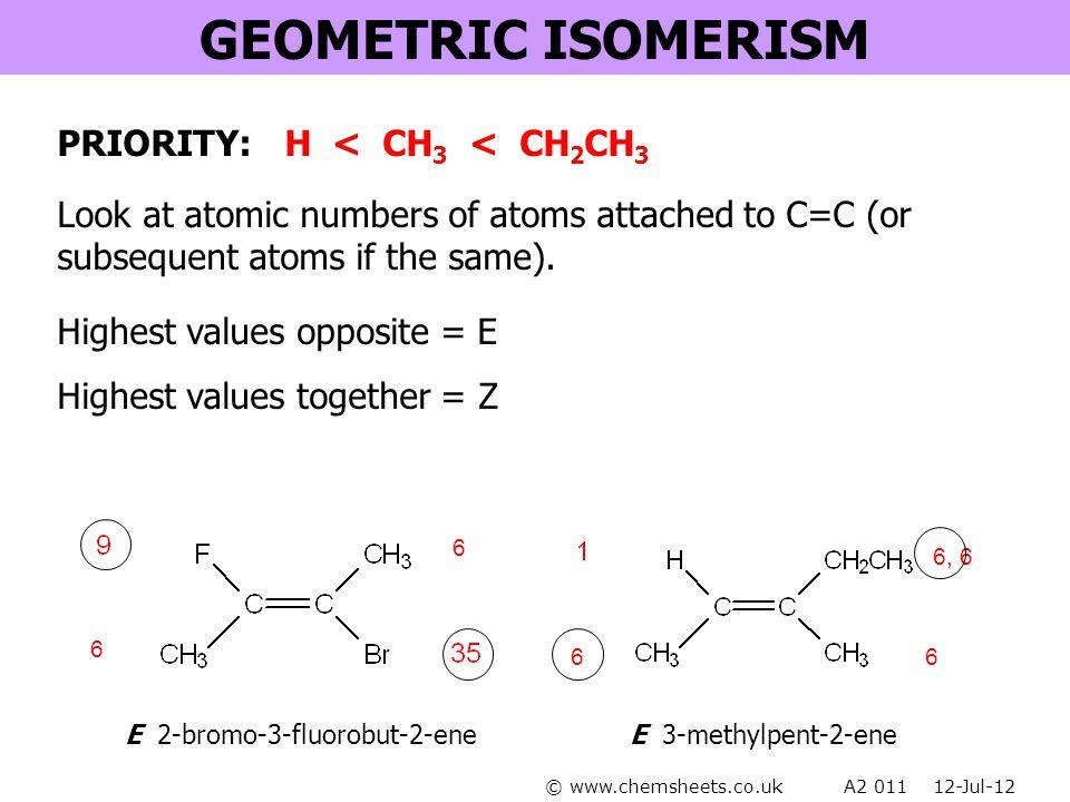 GEOMETRIC ISOMERISM PRIORITY: H < CH3 < CH2CH3