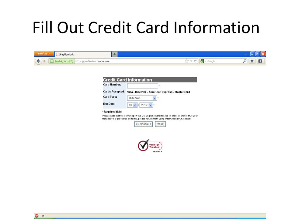Fill Out Credit Card Information