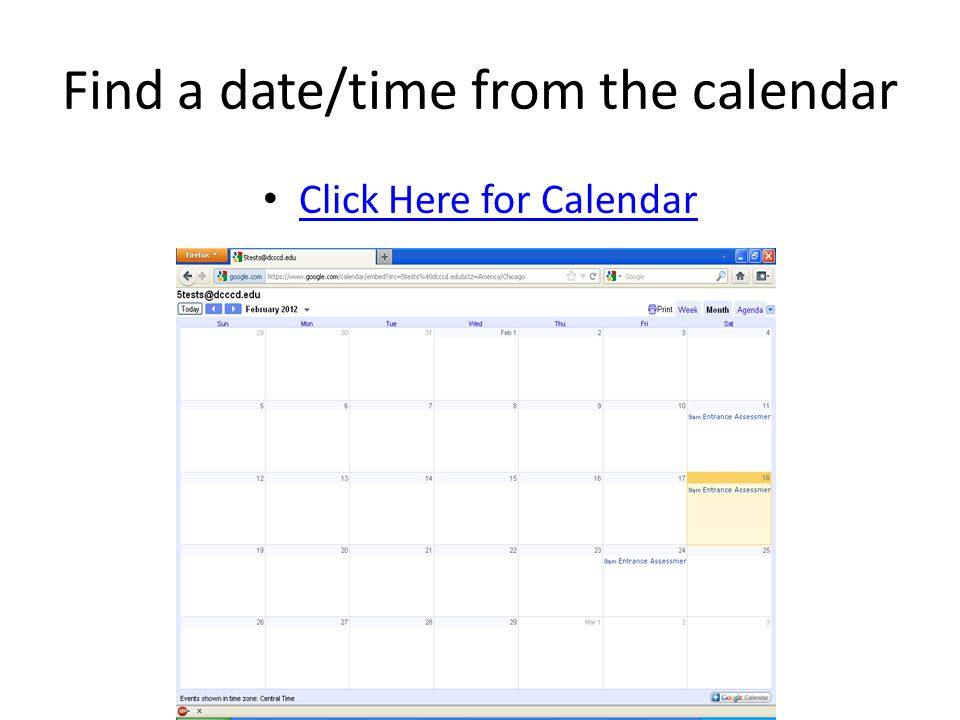 Find a date/time from the calendar
