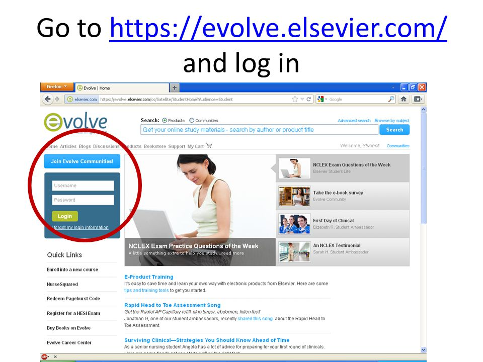 Go to https://evolve.elsevier.com/ and log in
