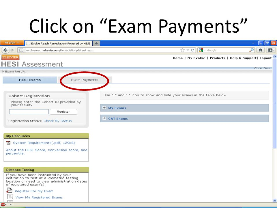 Click on Exam Payments