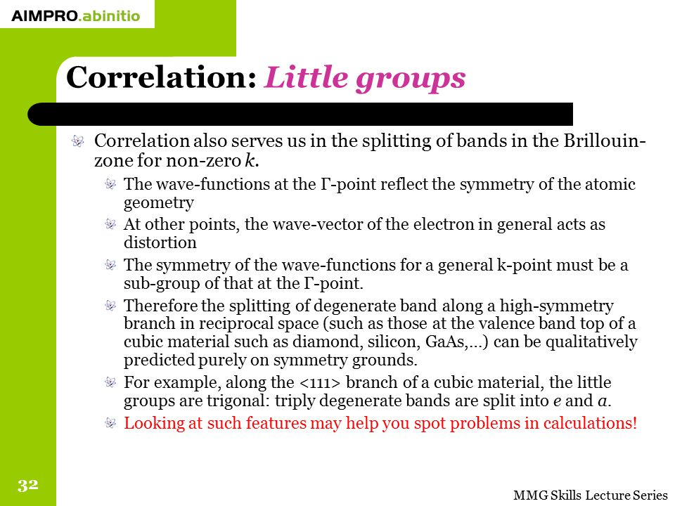 Correlation: Little groups