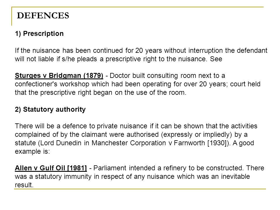 DEFENCES 1) Prescription