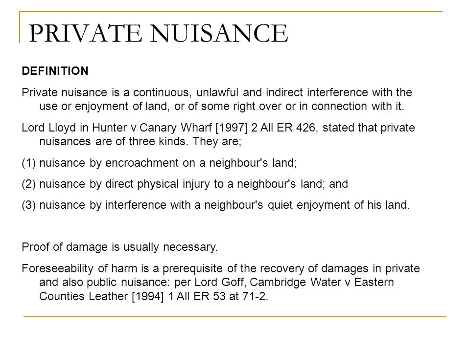PRIVATE NUISANCE DEFINITION