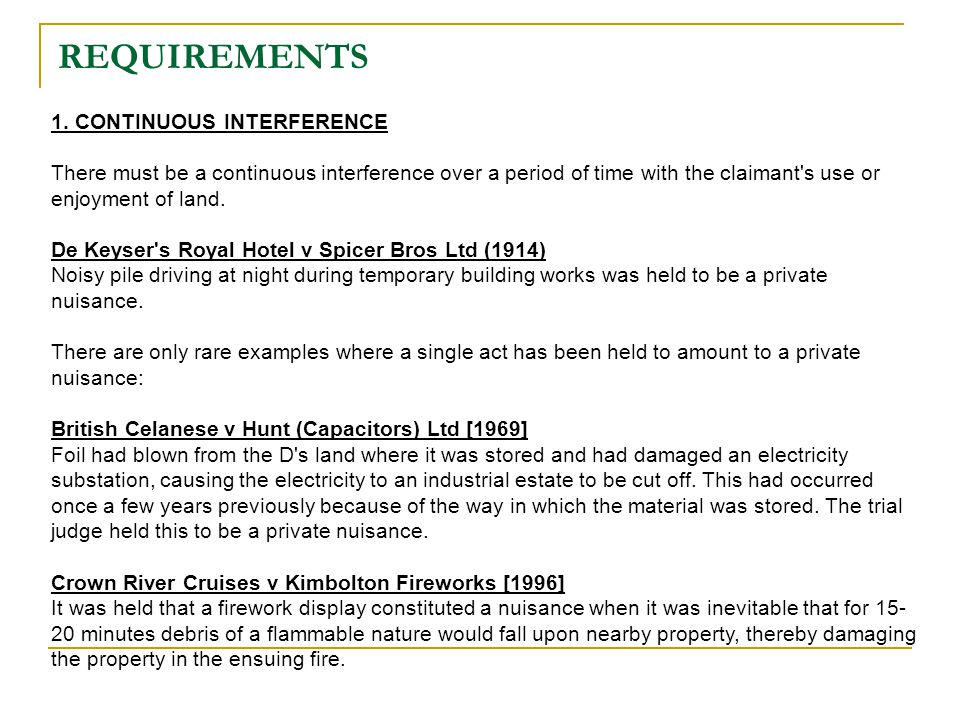 REQUIREMENTS 1. CONTINUOUS INTERFERENCE
