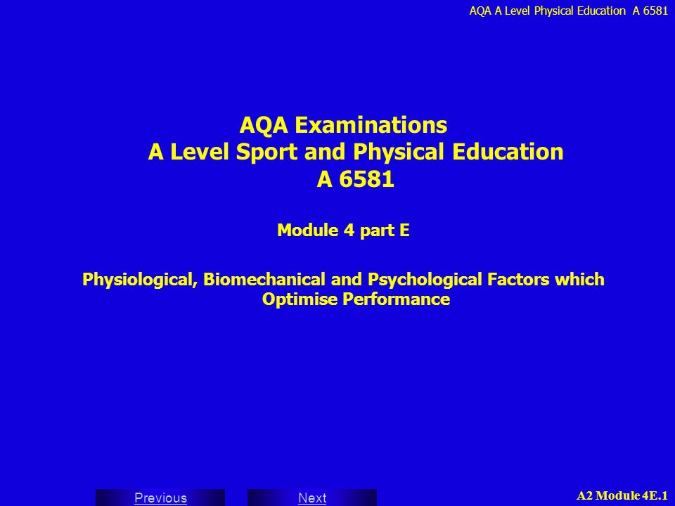 AQA Examinations A Level Sport and Physical Education A 6581