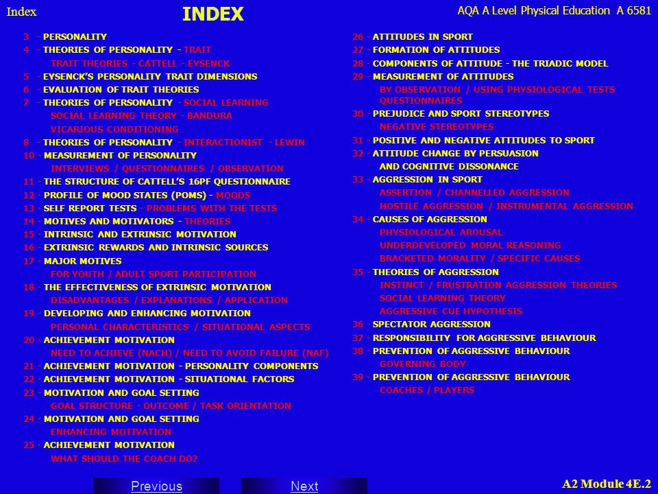 INDEX Index 3 - PERSONALITY 4 - THEORIES OF PERSONALITY - TRAIT