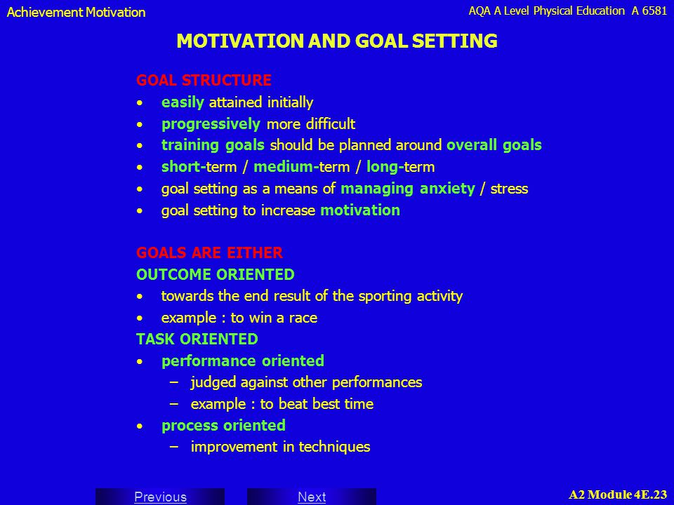 MOTIVATION AND GOAL SETTING