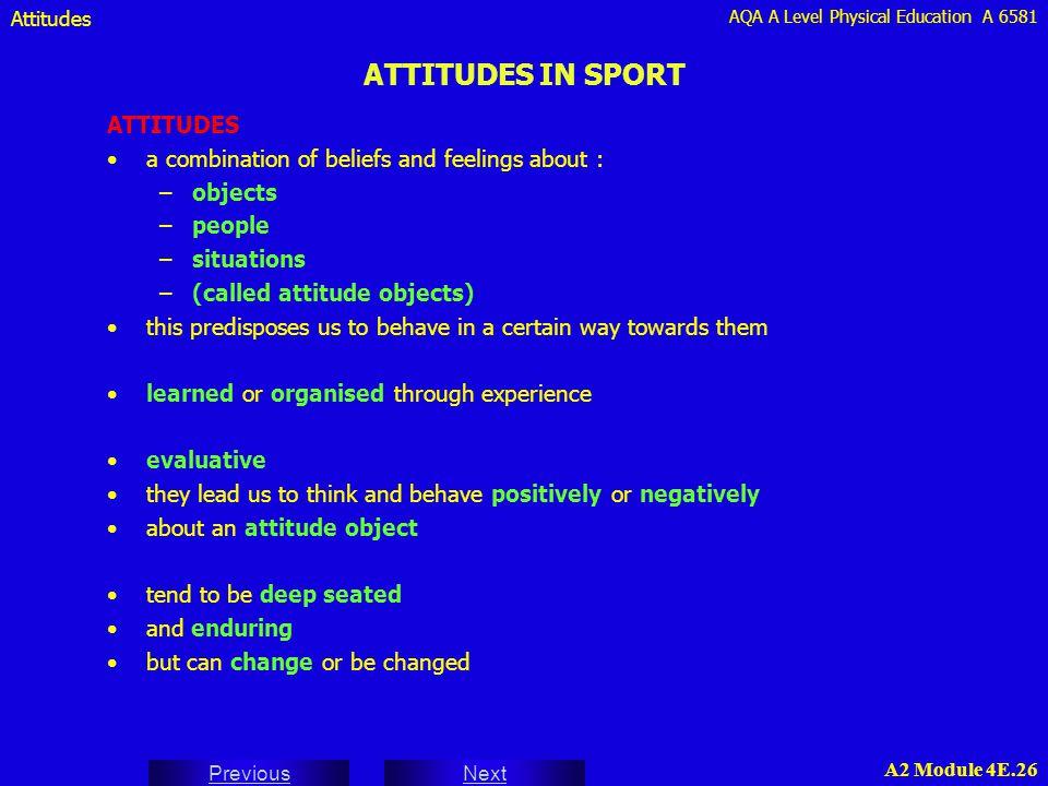 ATTITUDES IN SPORT ATTITUDES