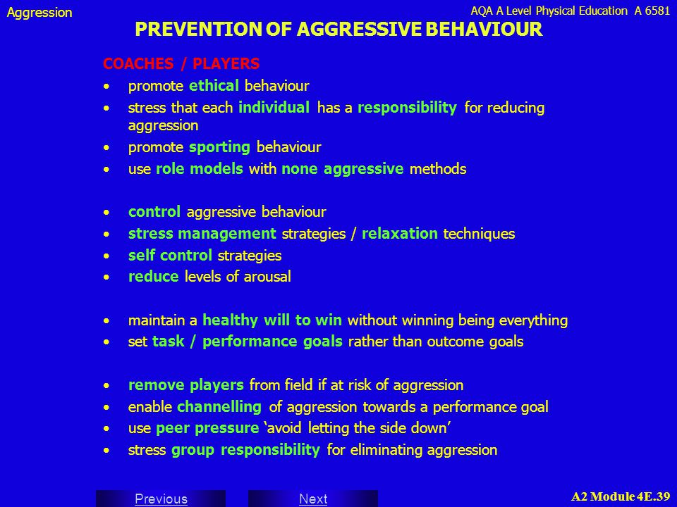 PREVENTION OF AGGRESSIVE BEHAVIOUR